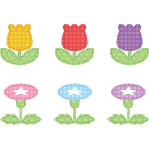 フリーイラスト, ベクター画像, AI, アップリケ(ワッペン), 植物, 花, チューリップ, 朝顔(アサガオ)