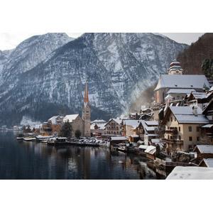フリー写真, 風景, 建造物, 建築物, 街並み(町並み), 街(町), 湖, 山, 雪, 冬, 世界遺産, オーストリアの風景, ハルシュタット