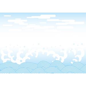 フリーイラスト, ベクター画像, AI, 背景, 和柄, 海, 波, 夏, 波しぶき