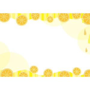 フリーイラスト, ベクター画像, AI, 背景, フレーム, 上下フレーム, 食べ物(食料), 果物(フルーツ), オレンジ