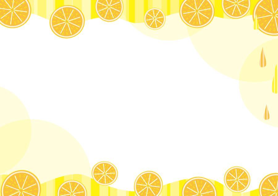 フリーイラスト 輪切りのオレンジの飾り枠