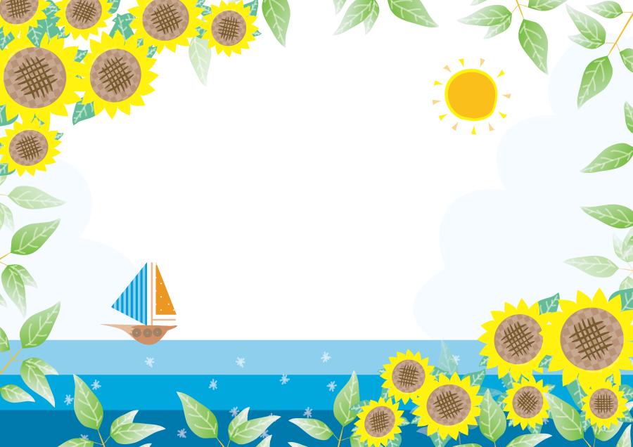 フリーイラスト ヨットの浮かぶ海とひまわりと葉のフレーム