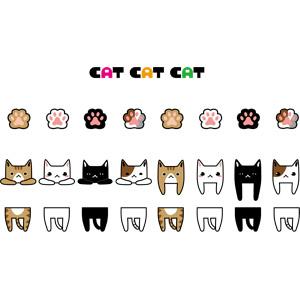 フリーイラスト, ベクター画像, AI, 動物, 哺乳類, 猫(ネコ), 黒猫, 白猫, 肉球, 飾り罫線(ライン)