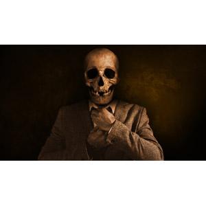フリー写真, 人物, 頭蓋骨(髑髏), 骸骨, ネクタイ, セピア色, 死神