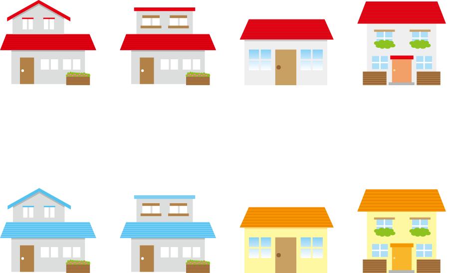 フリーイラスト 8種類のマイホームのセット