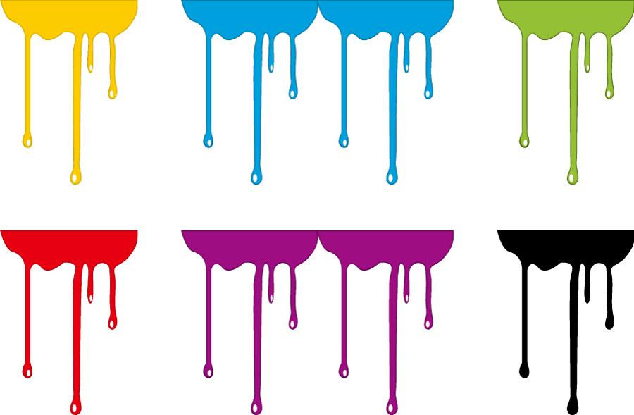 フリーイラスト 6種類の垂れ落ちるインクのセット