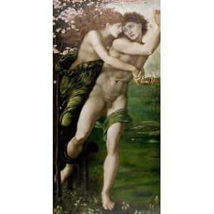 フリー絵画, エドワード・バーン=ジョーンズ, 物語画, 神話, ギリシア神話, ピュリス, デーモポーン, アーモンド, 夫婦, カップル, 抱きしめる