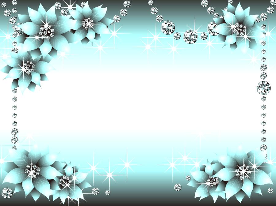 フリーイラスト ダイヤモンドと花の飾り枠