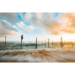 フリー写真, 風景, 海, ビーチ(砂浜), 杭, 魚釣り(フィッシング), 人と風景, スリランカの風景