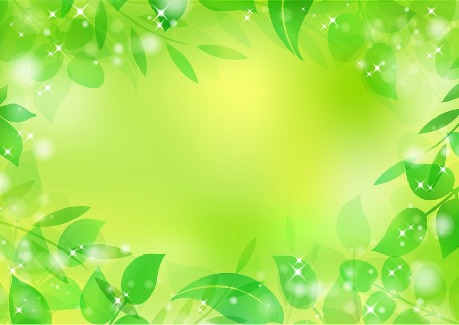 フリーイラスト 新緑の葉と緑色の背景の飾り枠