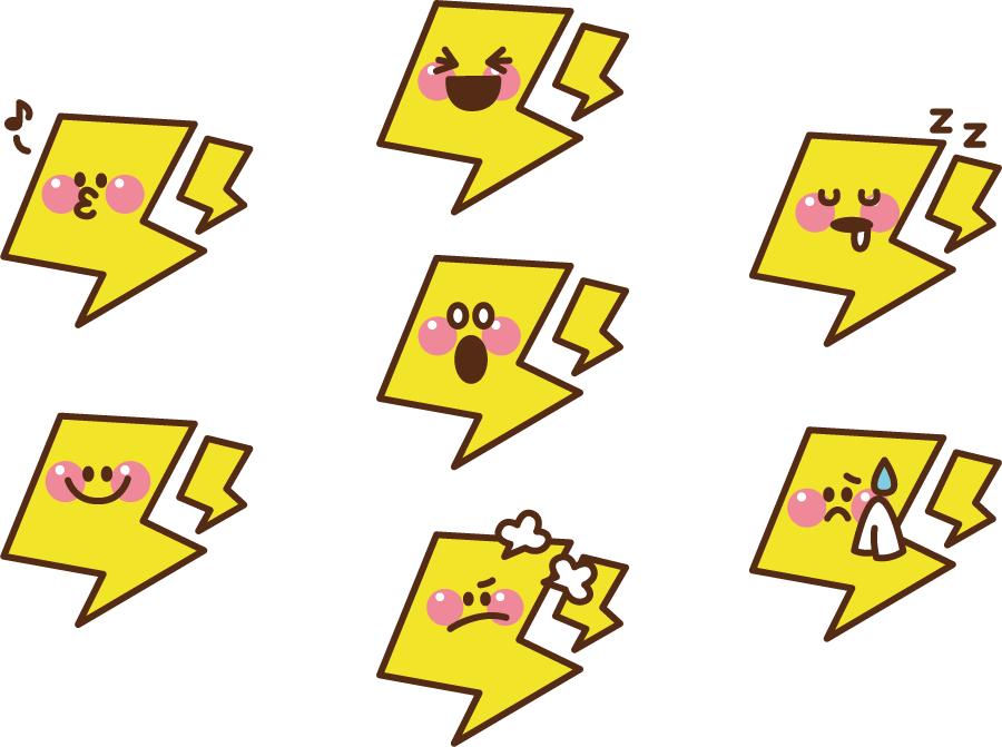 フリーイラスト 7種類の雷のキャラクターのセット