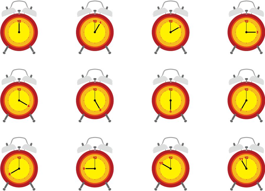 フリーイラスト 0時から11時の目覚まし時計のセット