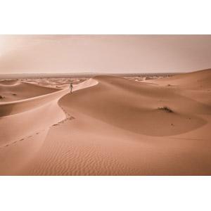 フリー写真, 風景, 砂漠, サハラ砂漠, 砂丘, 人と風景, モロッコの風景