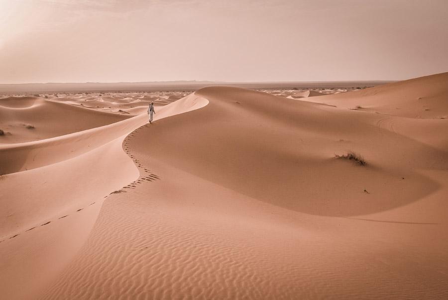 フリー写真 サハラ砂漠の砂丘を歩く人物