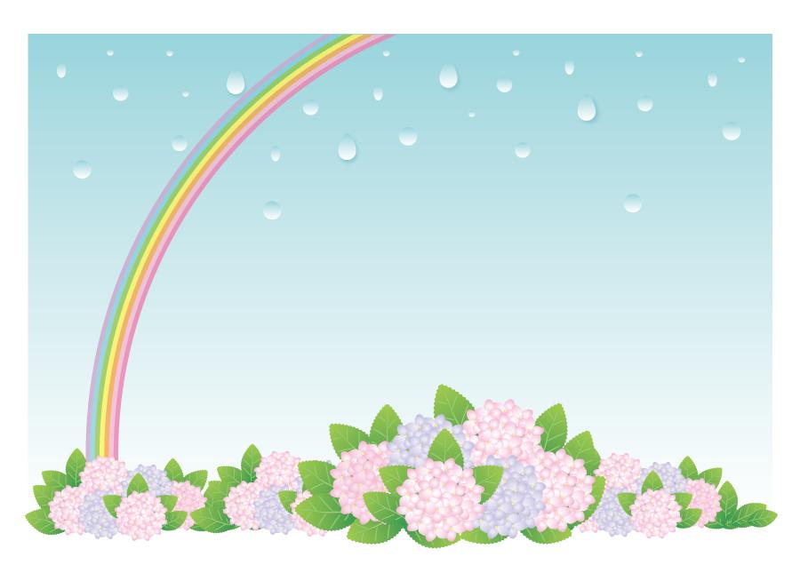 フリーイラスト あじさいの花と虹と雨の背景