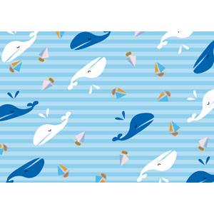 フリーイラスト, ベクター画像, AI, 背景, 海, ボーダー柄, 夏, 鯨(クジラ), 船, ヨット