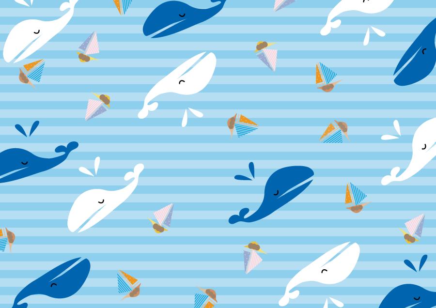 フリーイラスト ヨットとクジラとボーダー柄の海の背景