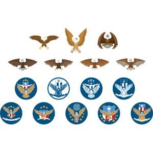 フリーイラスト, ベクター画像, AI, 動物, 鳥類, 猛禽類, 鷲(ワシ), 白頭鷲(ハクトウワシ), 紋章