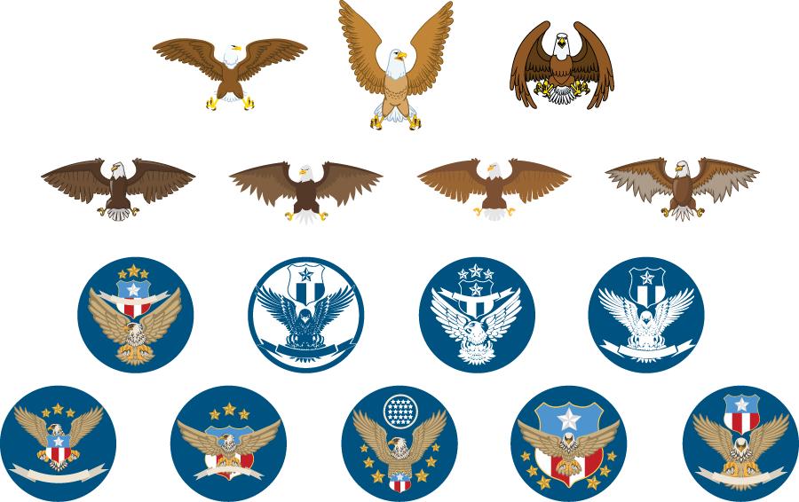 フリーイラスト 16種類の白頭鷲と紋章のセット