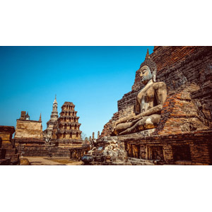 フリー写真, 風景, 建造物, 建築物, 遺跡, 寺院, 仏像, 仏教, スコータイ歴史公園, タイの風景, 世界遺産