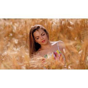 フリー写真, 人物, 女性, 外国人女性, 女性(00234), ルーマニア人, 麦(ムギ), 畑, 穀物