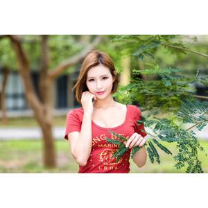 フリー写真, 人物, 女性, アジア人女性, 中国人, 希維亞(00231), ショートヘア, 頬に手を当てる