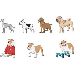 フリーイラスト, ベクター画像, AI, 動物, 哺乳類, 犬(イヌ), グレイハウンド, ブル・テリア, シャー・ペイ, ブルドッグ, スケートボード(スケボー)