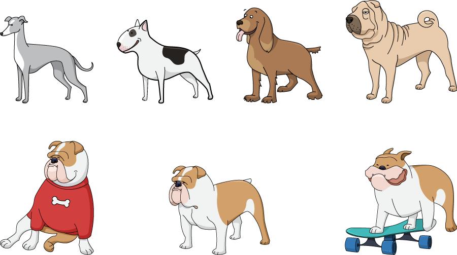 フリーイラスト ブルドッグなどの7種類の犬のセット