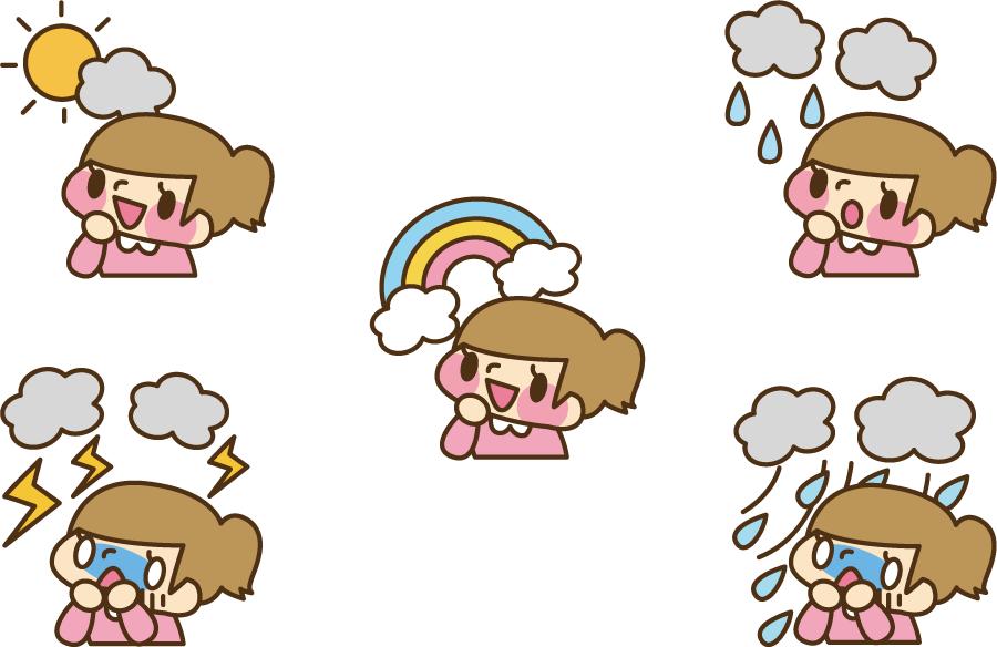 フリーイラスト 5種類の天気と女の子のセット