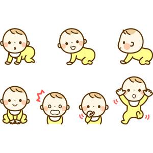 フリーイラスト, 人物, 子供, 赤ちゃん, ハイハイ, 驚く, 指しゃぶり, 寝転ぶ, 仰向け
