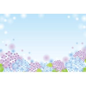フリーイラスト, ベクター画像, EPS, 背景, フレーム, 囲みフレーム, 植物, 花, 紫陽花(アジサイ), 梅雨, 6月