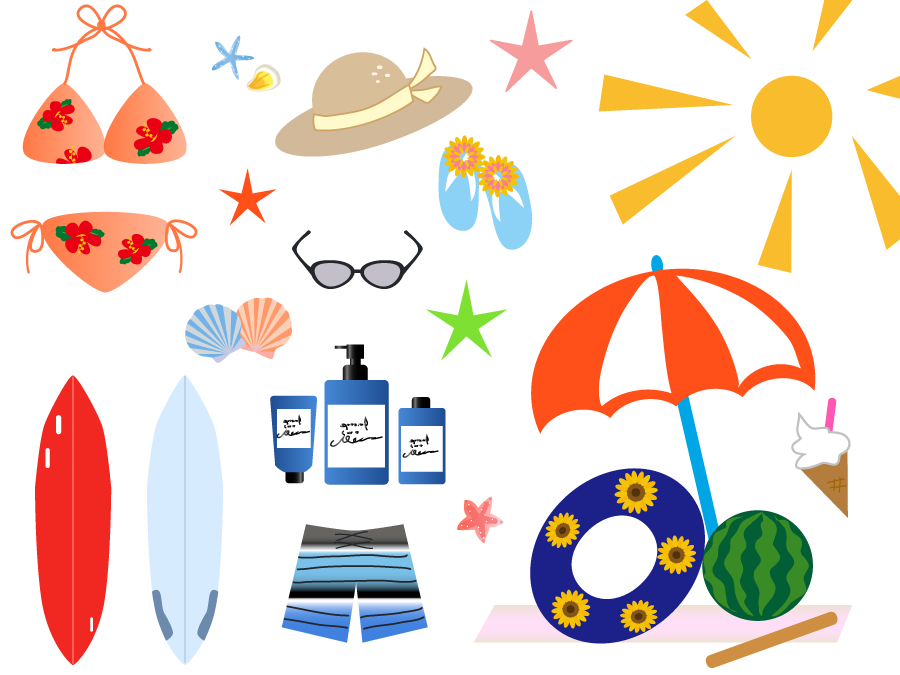 フリーイラスト サーフボードやサンオイルなどの海水浴関連のセット