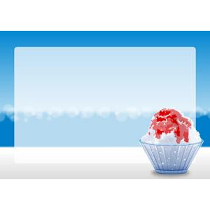 フリーイラスト, ベクター画像, AI, 背景, フレーム, 囲みフレーム, 食べ物(食料), 菓子, かき氷, 夏