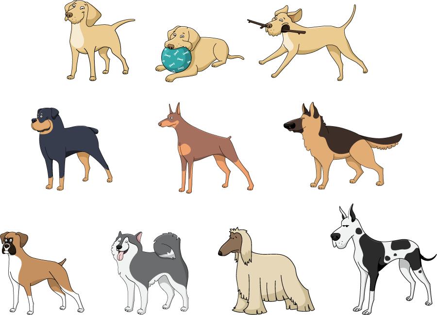 フリーイラスト ラブラドールレトリバーなどの10種類の犬のセット