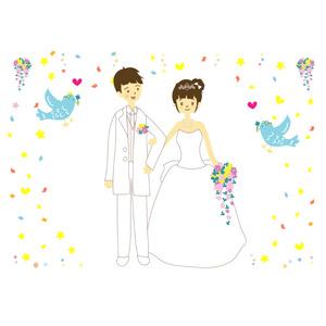 フリーイラスト, ベクター画像, AI, カップル, 花婿(新郎), 花嫁(新婦), 結婚式(ブライダル), 二人, ブーケ, ウェディングドレス, タキシード, 腕を組む(カップル), 紙吹雪, 青い鳥