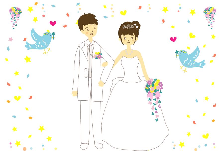 フリーイラスト 祝福される新郎新婦の結婚式の背景