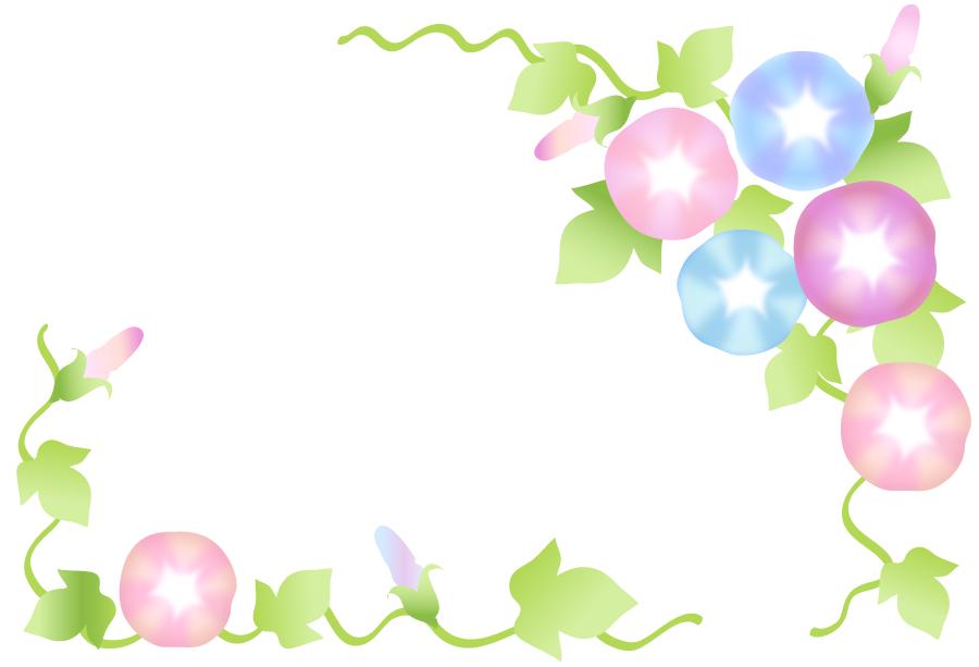 フリーイラスト 淡い色のアサガオの飾り枠