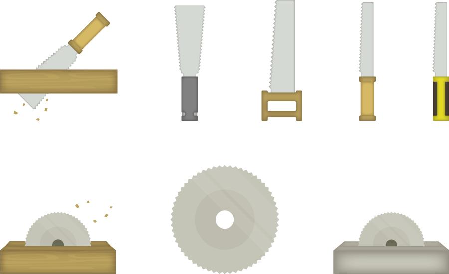 フリーイラスト 8種類の鋸と電動のこぎりのセット