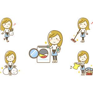 フリーイラスト, 人物, 女性, 女性(00219), 主婦, 買い物(ショッピング), ゴミ出し, ゴミ袋, 掃除(清掃), 洗濯, 洗濯物, 洗濯機, モップ