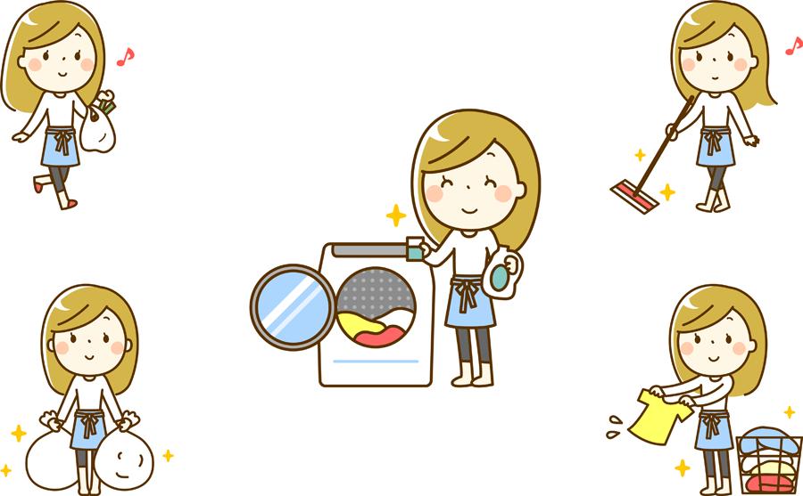 フリーイラスト 5種類の家事をする主婦のセット