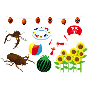 フリーイラスト, ベクター画像, AI, 夏, 提灯, お祭り, 昆虫, クワガタムシ, カブトムシ, 浮き輪, ビーチボール, 西瓜(スイカ), 金魚(キンギョ), うちわ, 向日葵(ヒマワリ)