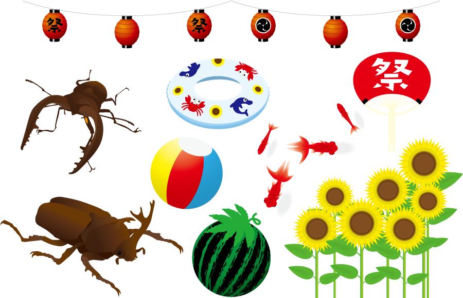 フリーイラスト カブトムシやクワガタなどの夏の素材セット
