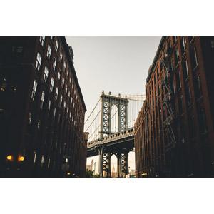 フリー写真, 風景, 建造物, 建築物, 高層ビル, 橋, マンハッタン橋, アメリカの風景, ニューヨーク