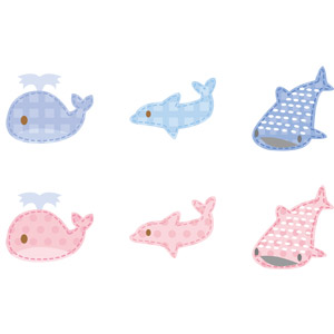 フリーイラスト, ベクター画像, AI, アップリケ(ワッペン), 動物, 哺乳類, 魚類, 鯨(クジラ), イルカ, 鮫(サメ), ジンベエザメ