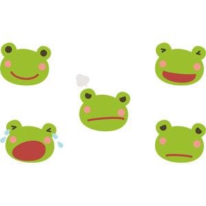 フリーイラスト, ベクター画像, AI, 動物, 両生類, 蛙(カエル), 動物の顔, 喜ぶ(動物), 怒る(動物), 泣く(動物)
