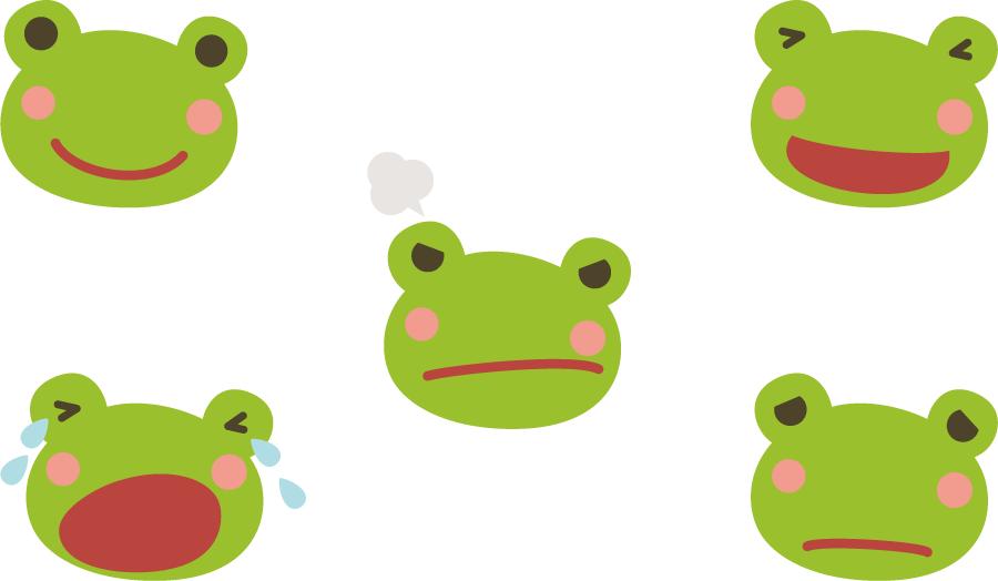 フリーイラスト 5種類のカエルの顔のセット