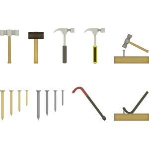 フリーイラスト, ベクター画像, AI, 工具, 金槌(トンカチ), 釘(クギ), バール