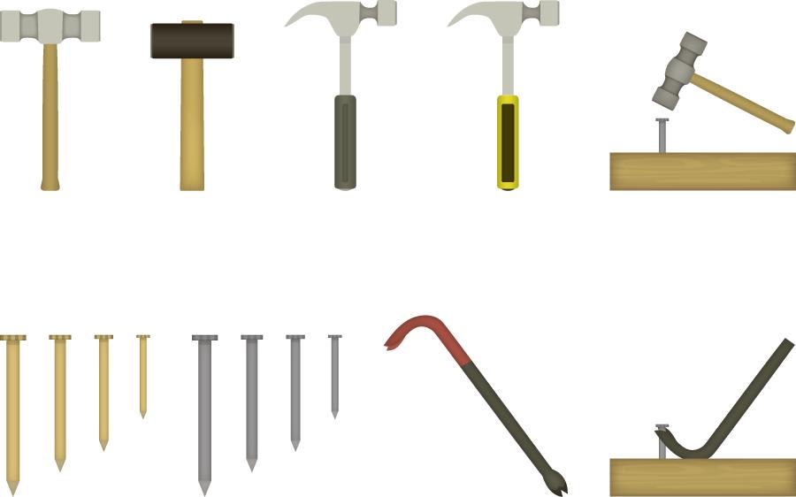 フリーイラスト 9種類の金鎚と釘とバールのセット