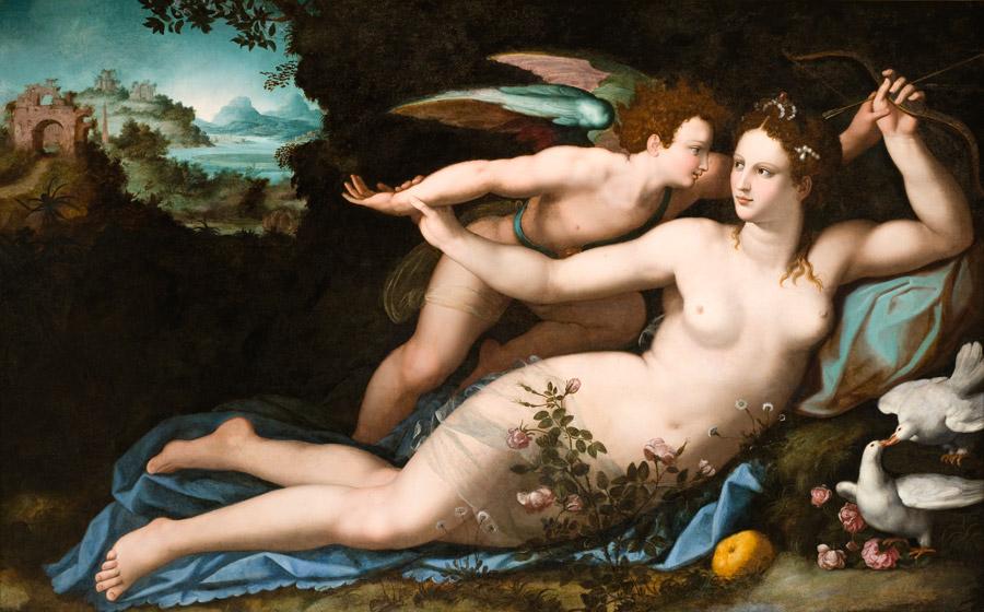 フリー絵画 アレッサンドロ・アッローリ作「ヴィーナスとキューピッド」