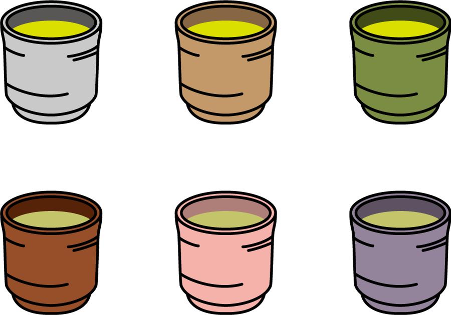 フリーイラスト 6色の湯呑みと緑茶のセット